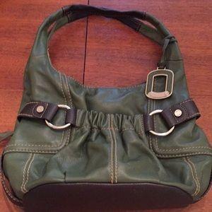 TIGNANELLO Hobo Leather Bag Dark Green EC!